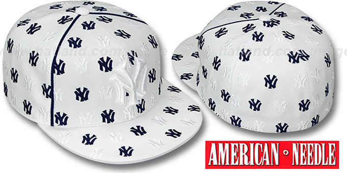 Yankees 'DICE ALL-OVER' White Fitted Hat by American Needle : pictured without stickers that these products are shipped with