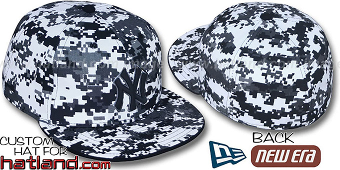 Yankees 'DIGITAL URBAN CAMO' Fitted Hat by New Era : pictured without stickers that these products are shipped with