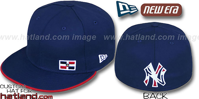 Yankees DOMINICAN 'FLAWLESS' Navy Fitted Hat : pictured without stickers that these products are shipped with
