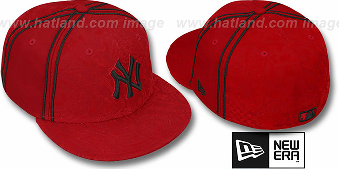 Yankees 'DUAL-PIPED INKED' Red Fitted Hat by New Era : pictured without stickers that these products are shipped with