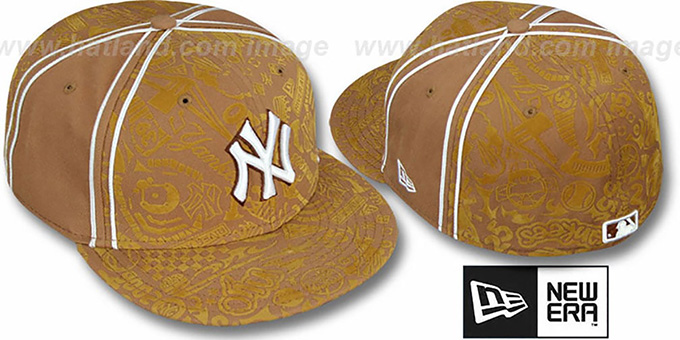 Yankees 'DUAL-PIPED INKED' Wheat Fitted Hat by New Era : pictured without stickers that these products are shipped with