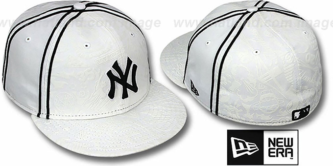 Yankees 'DUAL-PIPED INKED' White Fitted Hat by New Era : pictured without stickers that these products are shipped with