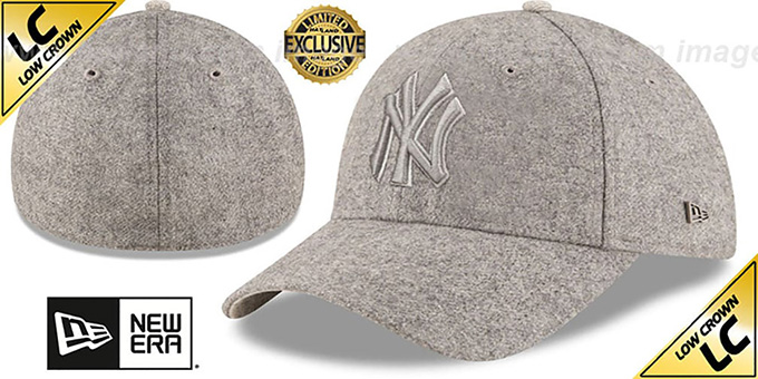 Yankees 'EK MELTON FABRIC MIX' Grey Hat by New Era : pictured without stickers that these products are shipped with