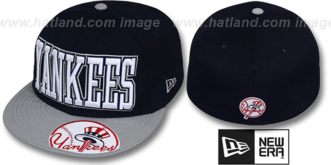 Yankees 'EPIC WORD' Navy-Grey Fitted Hat by New Era : pictured without stickers that these products are shipped with