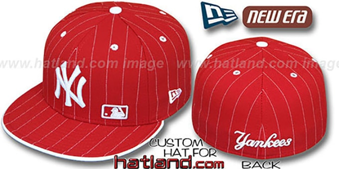 Yankees 'FABULOUS' Red-White Fitted Hat by New Era : pictured without stickers that these products are shipped with