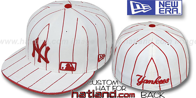 Yankees 'FABULOUS' White-Red Fitted Hat by New Era : pictured without stickers that these products are shipped with