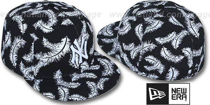 Yankees 'FEATHERS' Black-White Fitted Hat by New Era : pictured without stickers that these products are shipped with