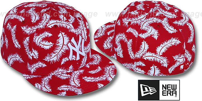 Yankees 'FEATHERS' Red-White Fitted Hat by New Era : pictured without stickers that these products are shipped with