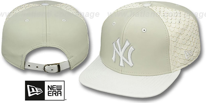 Yankees 'FISHSCALE LEATHER STRAPBACK' Hat by New Era : pictured without stickers that these products are shipped with