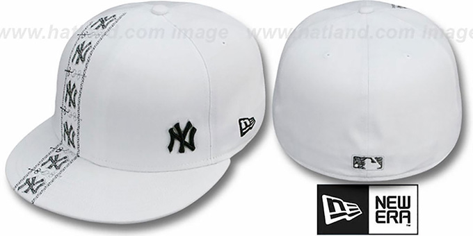 Yankees 'FLAWLESS CUBANO' White-Black Fitted Hat by New Era : pictured without stickers that these products are shipped with