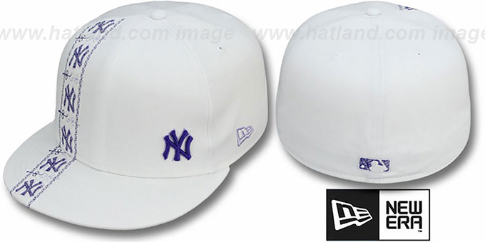 Yankees 'FLAWLESS CUBANO' White-Purple Fitted Hat by New Era : pictured without stickers that these products are shipped with