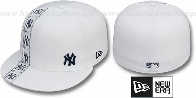 Yankees 'FLAWLESS CUBANO' White-Team Color Fitted Hat by New Era : pictured without stickers that these products are shipped with