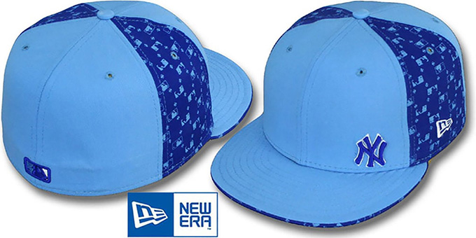 bb4a8b84 New York Yankees FLAWLESS MLB FLOCKING PINWHEEL Sky-Royal Fitted Hat by New  Era