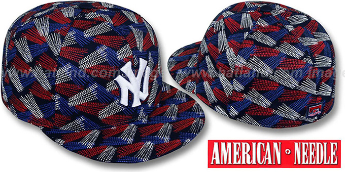 Yankees 'FLICKER' Navy Fitted Hat by American Needle : pictured without stickers that these products are shipped with