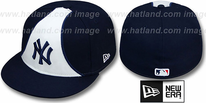 Yankees 'FLO' Navy Fitted Hat by New Era : pictured without stickers that these products are shipped with
