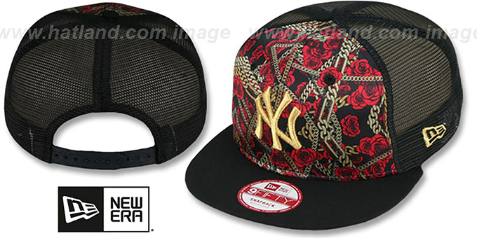 Yankees 'FLORAL CHAIN SNAPBACK' Hat by New Era : pictured without stickers that these products are shipped with