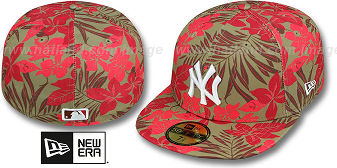 Yankees 'FLORICAL' Khaki Fitted Hat by New Era : pictured without stickers that these products are shipped with