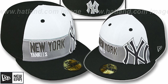 Yankees 'FOUL BALL' White-Black Fitted Hat by New Era : pictured without stickers that these products are shipped with
