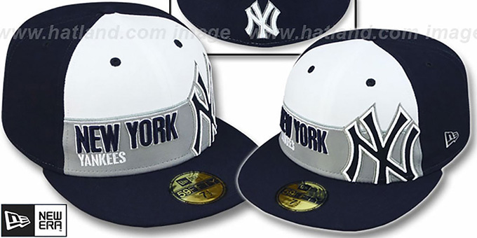 Yankees 'FOUL BALL' White-Navy Fitted Hat by New Era : pictured without stickers that these products are shipped with