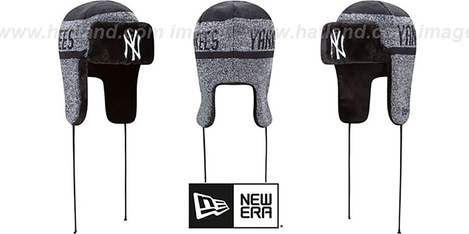 Yankees 'FROSTWORK TRAPPER' Navy Knit Hat by New Era : pictured without stickers that these products are shipped with
