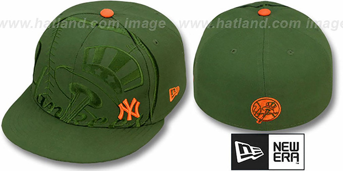 Yankees 'FULL FRONTAL' Green Fitted Hat by New Era : pictured without stickers that these products are shipped with