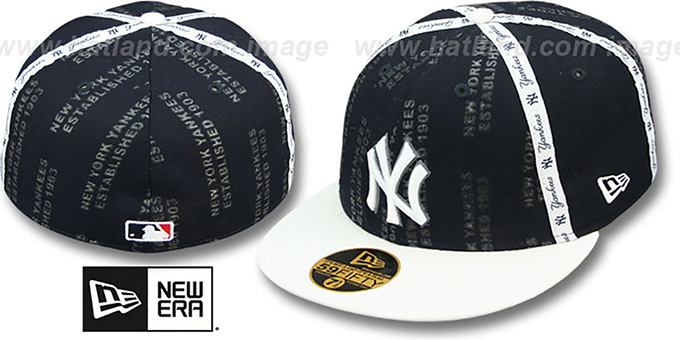 Yankees 'GELLIN' Navy-White Fitted Hat by New Era : pictured without stickers that these products are shipped with
