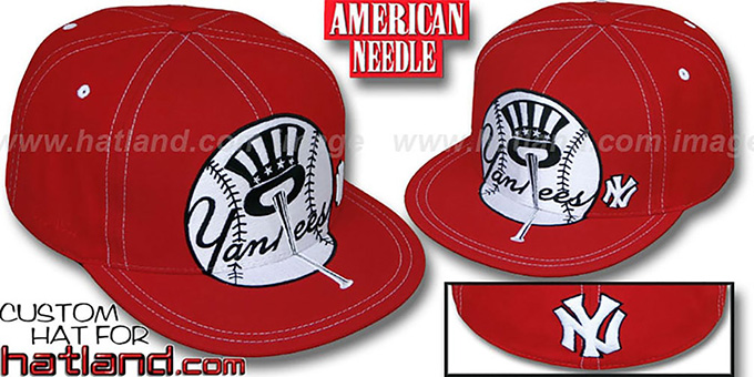 Yankees 'GETTIN BIG' Red-White Fitted Hat by American Needle : pictured without stickers that these products are shipped with