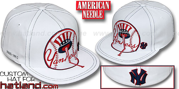 Yankees 'GETTIN BIG' White Fitted Hat by American Needle : pictured without stickers that these products are shipped with