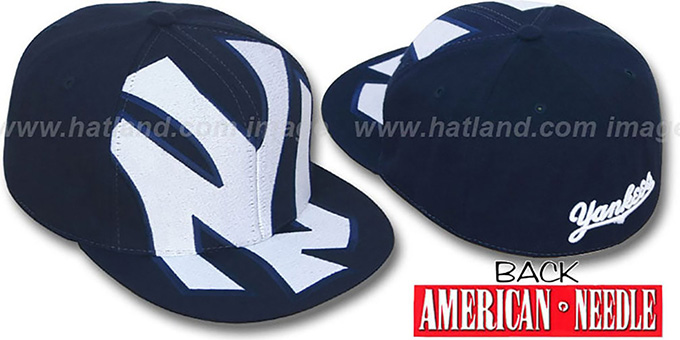 Yankees 'GETTIN-BIGGER' Navy Fitted Hat by American Needle : pictured without stickers that these products are shipped with