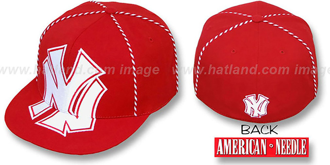 Yankees 'GETTIN-WEAVE' Red Fitted Hat by American Needle : pictured without stickers that these products are shipped with