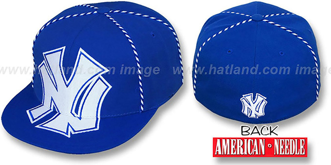 Yankees 'GETTIN-WEAVE' Royal Fitted Hat by American Needle : pictured without stickers that these products are shipped with