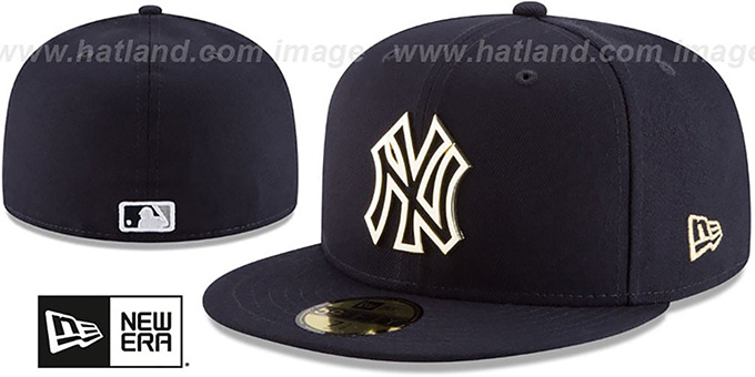 hot sale online 7f211 067e8 ... New Era. video available. Yankees  GOLD FRAMED METAL-BADGE  Navy Fitted  Hat by ...