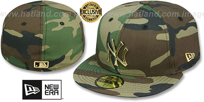Yankees 'GOLD METAL-BADGE' Army Camo Fitted Hat by New Era : pictured without stickers that these products are shipped with