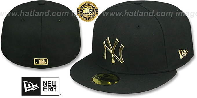 Yankees 'GOLD METAL-BADGE' Black Fitted Hat by New Era : pictured without stickers that these products are shipped with