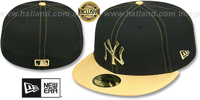 Yankees 'GOLD METAL-BADGE' Black-Gold Fitted Hat by New Era : pictured without stickers that these products are shipped with