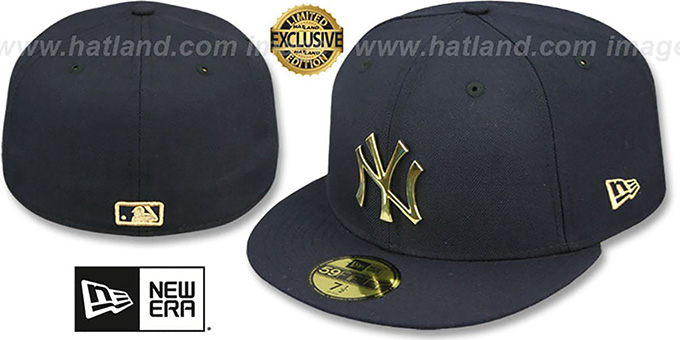 Yankees 'GOLD METAL-BADGE' Navy Fitted Hat by New Era : pictured without stickers that these products are shipped with