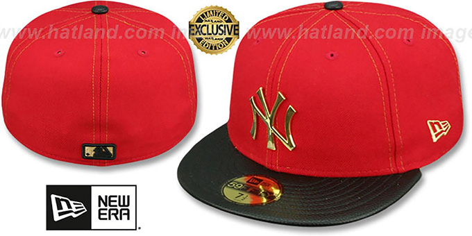 5a0c9db11 New York Yankees GOLD METAL-BADGE Red-Black Fitted Hat by New Era