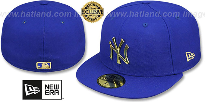 Yankees 'GOLD METAL-BADGE' Royal Fitted Hat by New Era : pictured without stickers that these products are shipped with