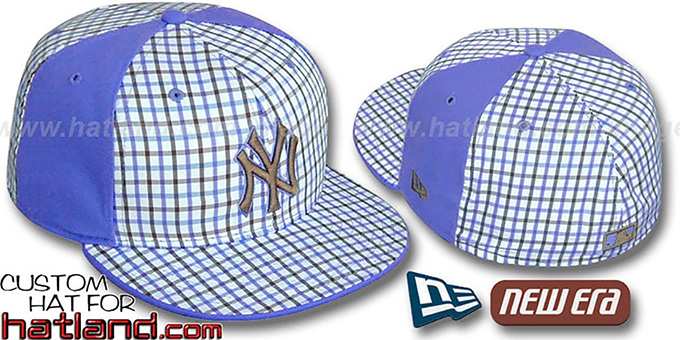 Yankees 'GOLD STAR' Plaid-Light Blue Fitted Hat by New Era : pictured without stickers that these products are shipped with