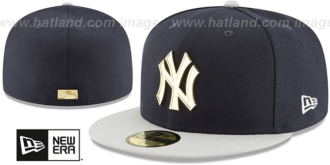 Yankees 'GOLDEN-BADGE' Navy-Grey Fitted Hat by New Era : pictured without stickers that these products are shipped with