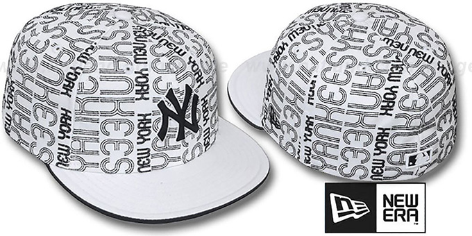 Yankees 'GOOD TIMES ALL-OVER' White-Black Fitted Hat by New Era : pictured without stickers that these products are shipped with