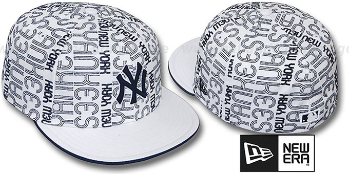 Yankees 'GOOD TIMES ALL-OVER' White-Navy Fitted Hat by New Era : pictured without stickers that these products are shipped with