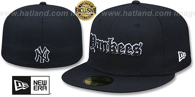 b2dcd6dc72ff8 Yankees  GOTHIC TEAM-BASIC  Navy Fitted Hat by New Era