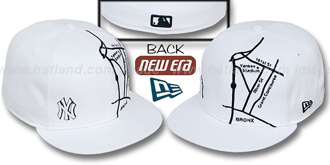 Yankees 'GPS' White-Black Fitted Hat by New Era : pictured without stickers that these products are shipped with
