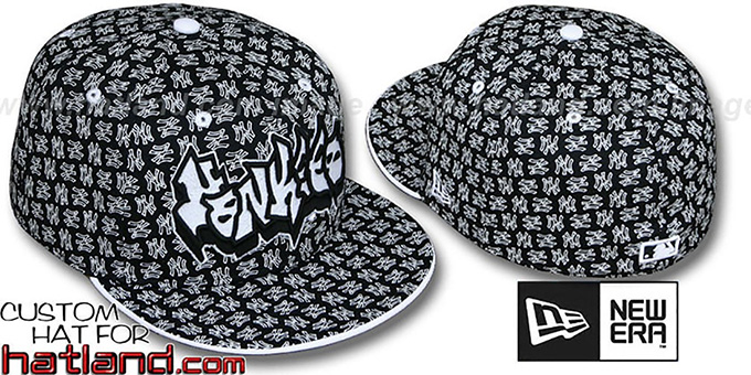 Yankees 'GRAFFITI ALL-OVER FLOCKING' Black-White Fitted Hat by New Era