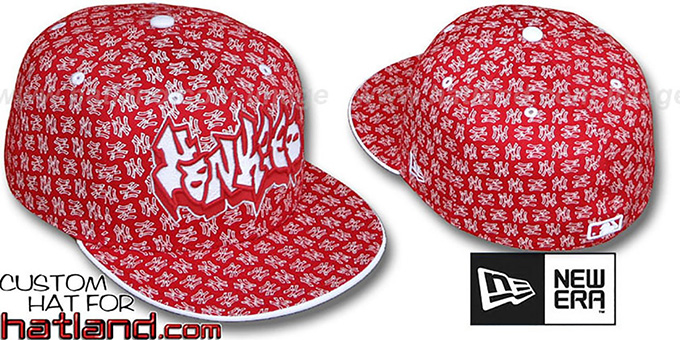 Yankees GRAFFITI 'ALL-OVER FLOCKING' Red-White Fitted Hat by New Era : pictured without stickers that these products are shipped with
