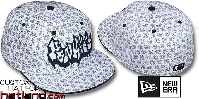 Yankees 'GRAFFITI ALL-OVER FLOCKING' White-Navy Fitted Hat by New Era : pictured without stickers that these products are shipped with