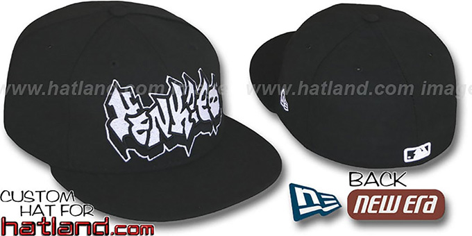 Yankees 'GRAFFITI' Black Fitted Hat by New Era : pictured without stickers that these products are shipped with