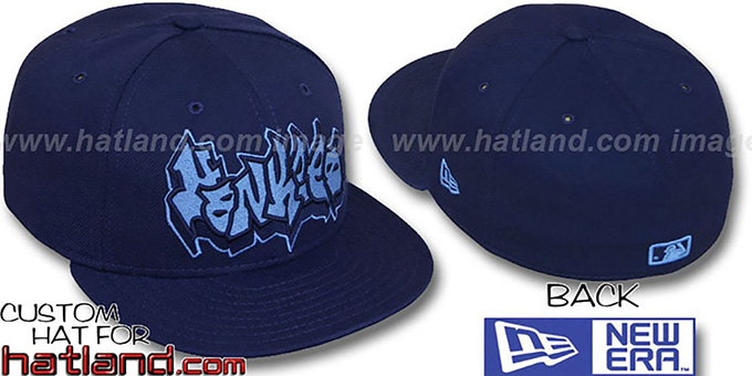 Yankees 'GRAFFITI' Navy-Columbia Fitted Hat by New Era : pictured without stickers that these products are shipped with