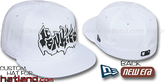 Yankees 'GRAFFITI' White-Black Fitted Hat by New Era : pictured without stickers that these products are shipped with